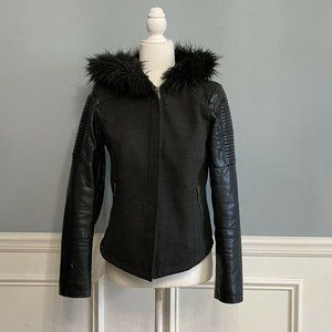 Forever 21 Coat Faux Fur Hood Faux Leather Sleeves